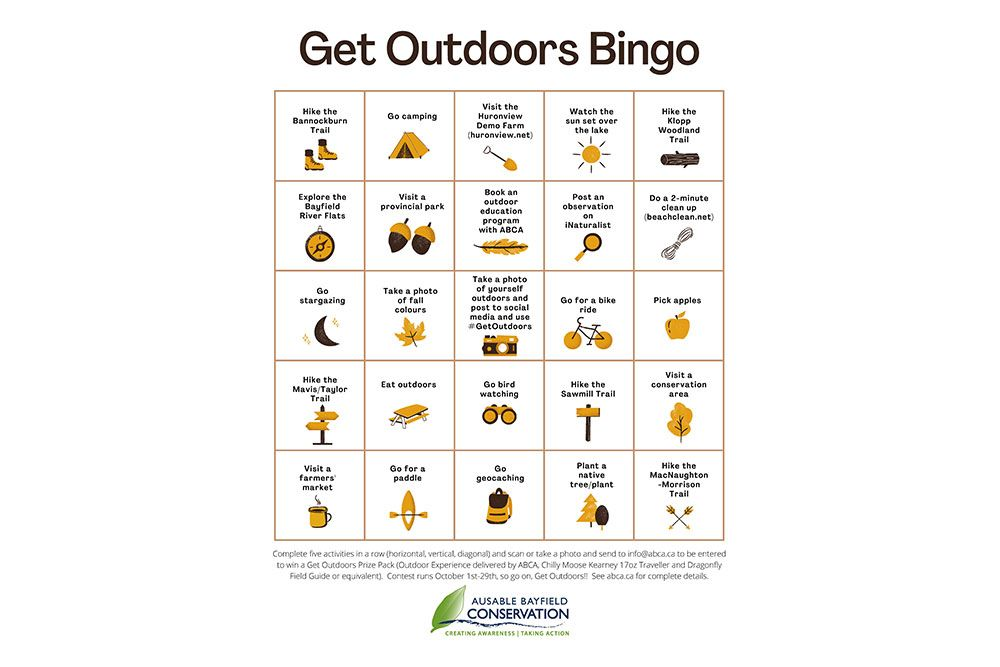 Take part in the Get Outdoors Bingo contest!